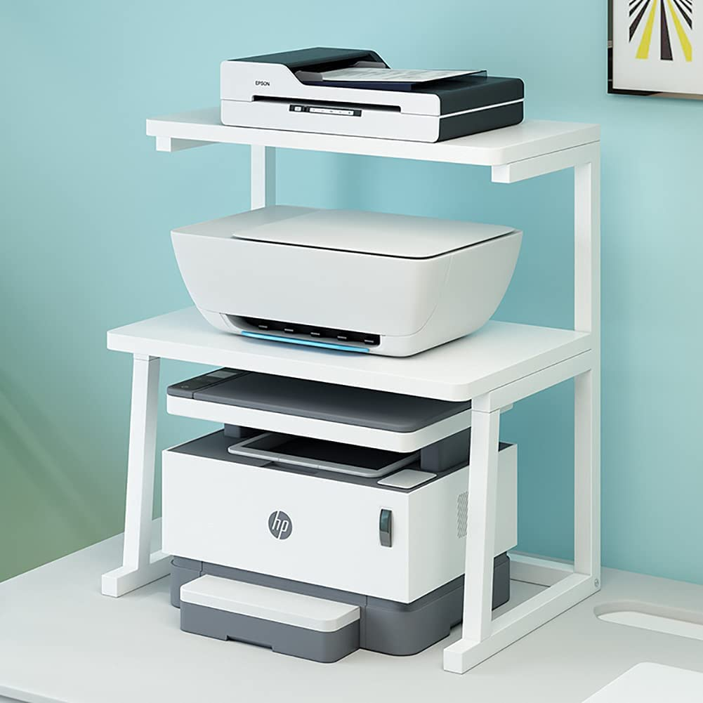 Printer Stand Desktop Printer Table, Book Shelf Multiple Function Desk Organizer with Storage for Office Home Kitchen Small Space White (3Tier)