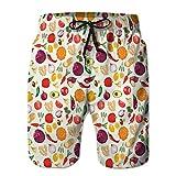 LJKHas232 Mens Summer Swim Trunks Shorts de Playa de Secado rápido Shorts de Comida Fresca y Saludable vege L