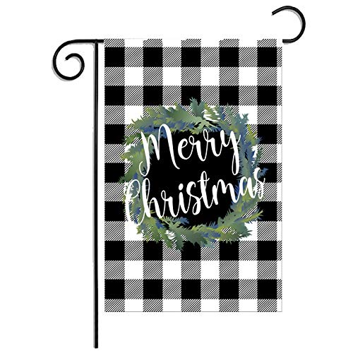 ZUEXT Merry Christmas Black and White Buffalo Check Plaid Garden Flag 12.5 x 18 Inch, Seasonal Wreath Winter Rustic Farmhouse Burlap Flags 12.5 x 18 Inch for Outside, Home Yard Xmas Party Gift Decor