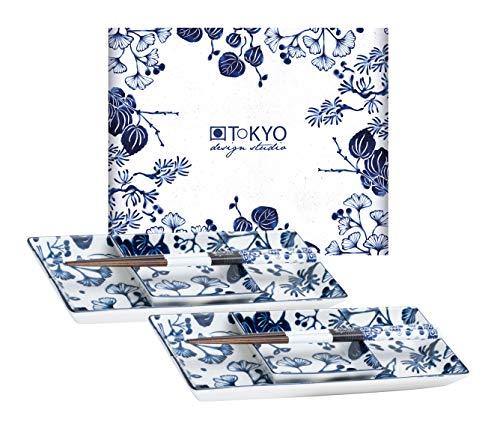 TOKYO design studio Flora Japonica Sushi-Set blau-weiß, 6-TLG, 2X Sushi-Platten, 2X Saucenschalen, 2X Essstäbchen, asiatisches Porzellan, Japanisches Design, inkl. Geschenk-Verpackung
