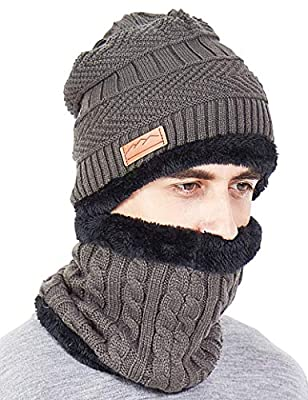 MissShorthair Men Winter Hat Scarf Set, Beanie Hat Neck Warmer for Women