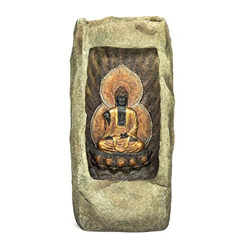 pajoma XXL Brunnen Sila, 100 cm Höhe, Buddha-Design mit LED-Beleuchtung und Bewegungseffekt