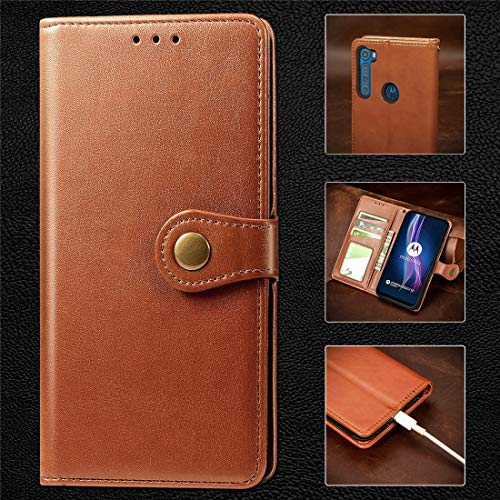 HH-Screen Protector For Motorola One Fusion Plus Retro Solid Color Leather Buckle Phone Case With Lanyard & Photo Frame & Card Slot & Wallet & Stand Function hangma (Color : Brown)