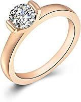 Ameesi Women's Fashion Alloy Band Rhinestone Decor Finger Ring Jewelry Charms Gift