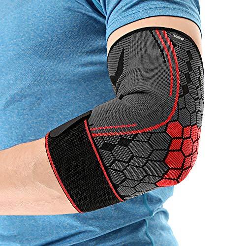 COLOMAX Hochwertige Ellenbogenbandage Ellenbogenstütze Sport Bandage Fitness (Rot, L)