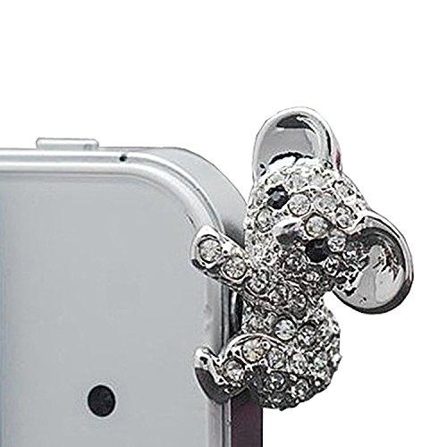 Lusee® Handyschmuck Handys Dust plug Staub Schutz Stecker Stöpsel Kopfhörer Kopfhörerbuchse Funktioniert auf alle (3,5 mm) Kopfhöreranschluss Koala mit Künstlicher Diamant Silber für DOOGEE PIXELS DG350 4.7Inch Doogee Turbo Mini F1 Doogee Homtom HT7 Doogee X6 / X6 Pro 5.5 Doogee Turbo Mini F1 4.5 Doogee Y100 Plus 5.5 Doogee Valencia DG800 4.5 DOOGEE IRON BONE DG750 4.7 DOOGEE DAGGER DG550 5.5 DOOGEE LEO DG280 4.5 Doogee F5 5.5 Doogee DG580 5.5 Doogee Nova Y100X 5.0 Doogee X5 5.0