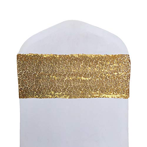 SheYang High Elastic Sequin Chair Sashes Bling Bling Chair Sashes Soft Strecth Sequin Material Shining Sequin Chair Bows for Party Decoration Home (12PCS, Irregular Gold)