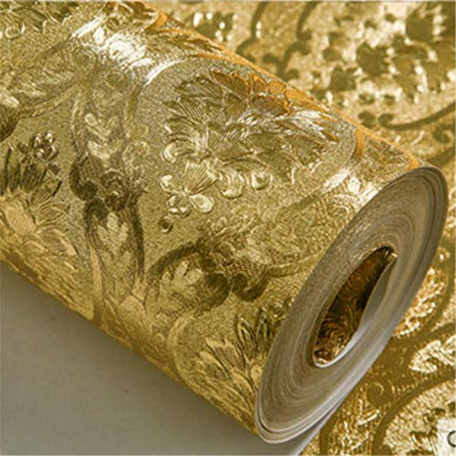 Halloween Tapete - Wandtapete Luxury Classic Gold Wallpaper Roll Bedroom Living Room Relief Damask Wall Paper Glitter Wallpapers Gold Foil Papel de Parede