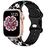 Easuny Compatible with Apple Watch Bands 40mm 38mm Womens Girls - Cute Fadeless Floral Soft Pattern Printed Silicone Replacement Wristband for iWatch SE & Series 6/5/4/3/2/1 Men,Black-Gray Flower, S/M