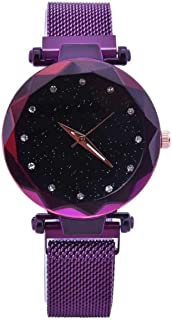 Acnos Black Round Diamond Dial with Latest Generation Purple Magnet Belt Analogue Watch for Women Pack of - 1 (DM-PURPLE04)