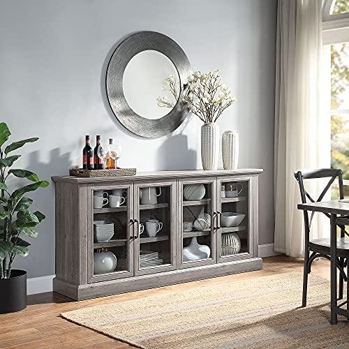 BELLEZE Liam 70' Rustic Farmhouse Wood Sideboard Universal Stand 4 Doors Buffet Cabinet Living Room Glass Storage, Grey Wash