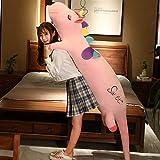 XIAN Cojín largo de peluche con diseño de unicornio, color blanco y rosa, suave y suave, de peluche, para niños, juguete de peluche 344 (color: verde, tamaño: 130 cm)