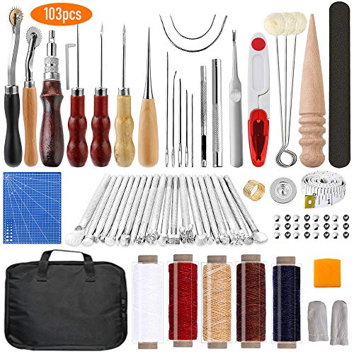 Leather Working Tools 103 Pcs Leather Craft DIY Tools with Stamping Tool, Cutting Mat, Snaps and Rivets Kit, Stitching Groover, Waxed Thread, Leather Tooling Kit for Stitching Punching Cutting Sewing