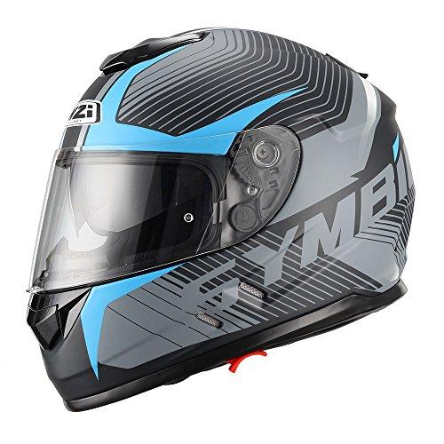 NZI Symbio Duo Grafik Volles Gesicht Motorradhelm, Matt Tera Schwarz Blau, Größe XL