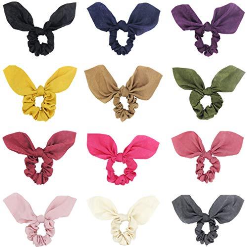 SUSULU - Coleteros para orejas de conejo con lazo de terciopelo para el pelo con nudos y banda elástica de goma para mujer, color sólido