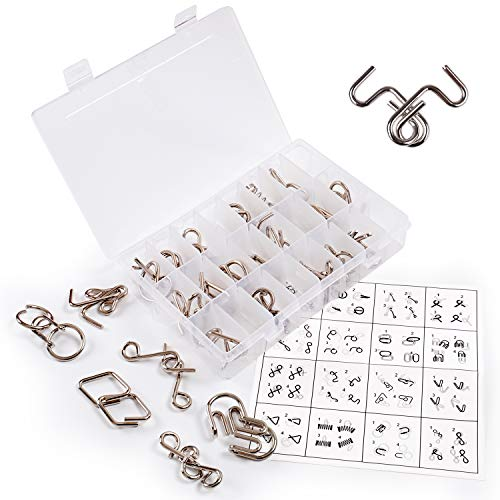 Rolimate Brain Teaser Puzzle IQ Toy Metal Wire Puzzle, IQ Logic Test & Handheld Disentanglement Games, Trick Toy Montessori Educational Intelligence Toy voor 6 7 8 Years Boy Girl, 24 Pcs & Storage Box