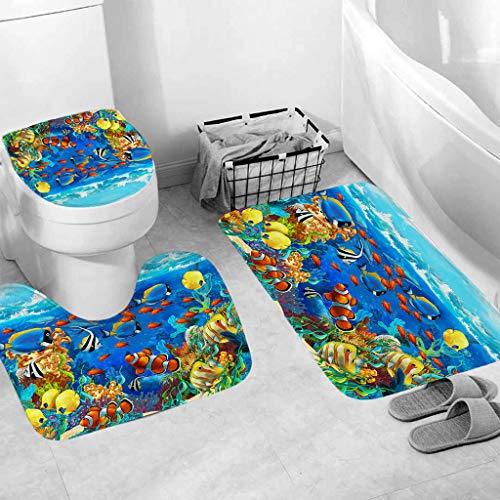 Jessie storee 3Pcs/Set Bathroom Mat Set Sea Fish Toilet Rug Anti Slip Bath Mat Rugs Home Decor Bathroom Anti-Slippery Rubber Back & Elastic Edges, Fish School - B