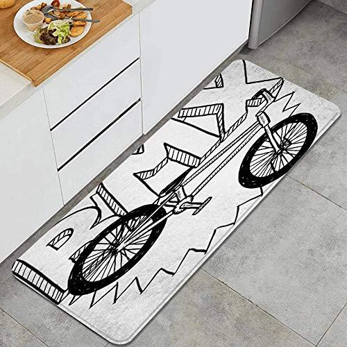 GEEVOSUN Doodle BMX Rueda Pedal Equipo de Bicicleta Deportes Recreación Equipo de Fitness Ocio Saludable Alfombrillas de Cocina Antideslizantes Felpudo Lavable Juego de Alfombras de Microfibra