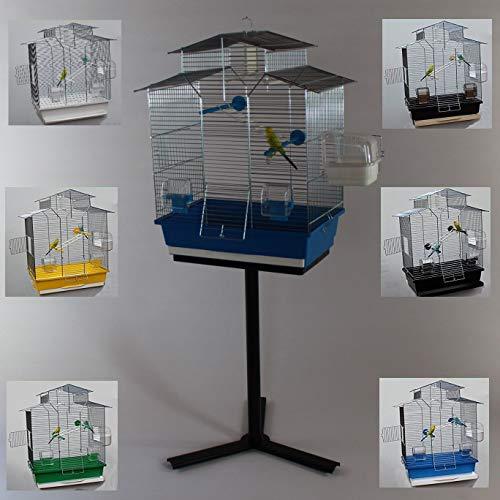 Heimtiercenter Vogelkäfig,WellenVogelkäfig Vogelbauer Wellensittich Kanarien Voliere Vogelhaus Käfig IZA 2 II blau + Ständer