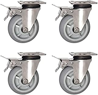 Zwenkwielen Zwaar uitgevoerde zwenkwielen 360 graden zwenkwielen met rem Roestvrijstalen universeel wiel met hoge belastin...