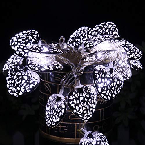 Lychee LED Stringa di Luce 20LEDs 2M Forma di Cuore Luci di Fata Batteria Powered Illuminazione Decorativa Ideale per Interni/Balcone/Festa/Matrimonio/Vacanze