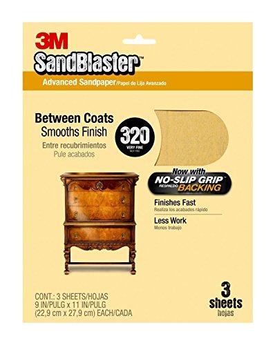 3M 20320 SandBlaster Between Coats Sandpaper, 320-Grit, 9-Inch by 11-Inch