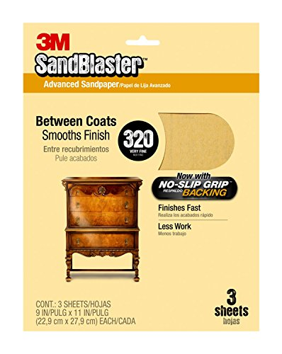 3M 20320 SandBlaster Between Coats Sandpaper, 320-Grit, 9-Inch by 11-Inch