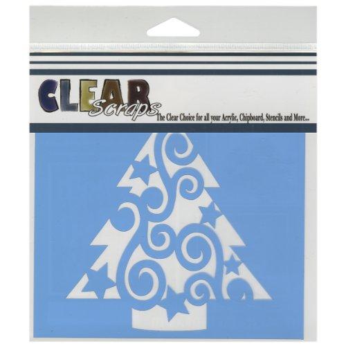 Clear Scraps CSSM6-CSWT Translucent Plastic Film Stencil, Swirl Christmas Tree, 6-Inch x 6-Inch