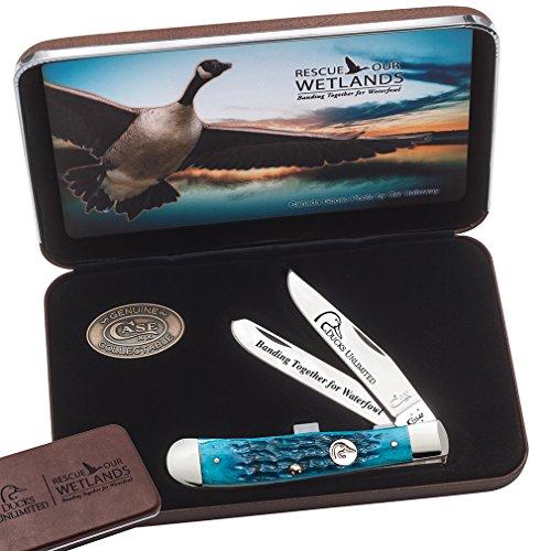 CASE XX WR Pocket Knife 7308 Ducks Unlimited Caribbean Blue Bone Trapper in Jewel Box