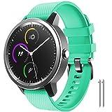 NotoCity para Garmin Vivoactive 3 Correa, Banda de Repuesto de Silicona Suave de 20 mm para Garmin Forerunner 245 / Samsung Gear Sport/Galaxy Watch 42 mm(L,Verde)