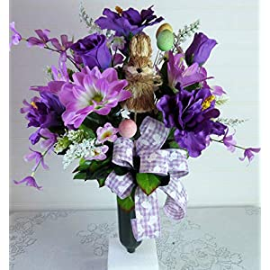 Easter Grave Vase, Cemetery Flowers with Bunny, Easter Grave Flowers with Purple Roses