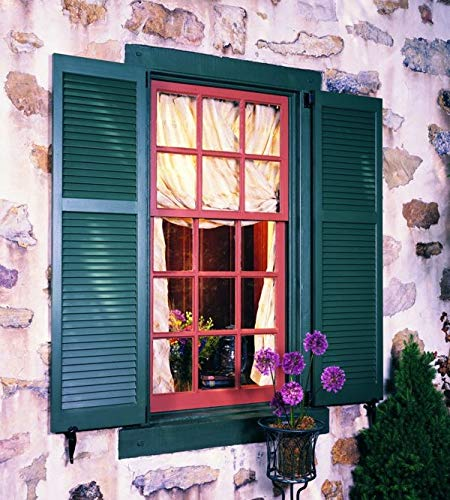 """LTL Home Products SHL55 Exterior Solid Wood Louvered Window Shutters, 15"""" x 55"""