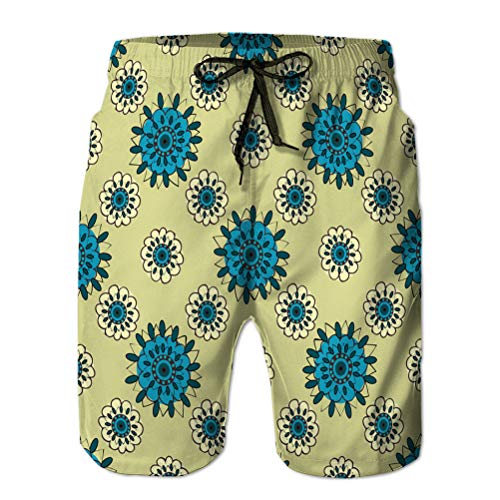 jiilwkie Summer Men 's Casual Shorts de Playa atléticos Natural Turquesa Flores abstractas sin Costuras