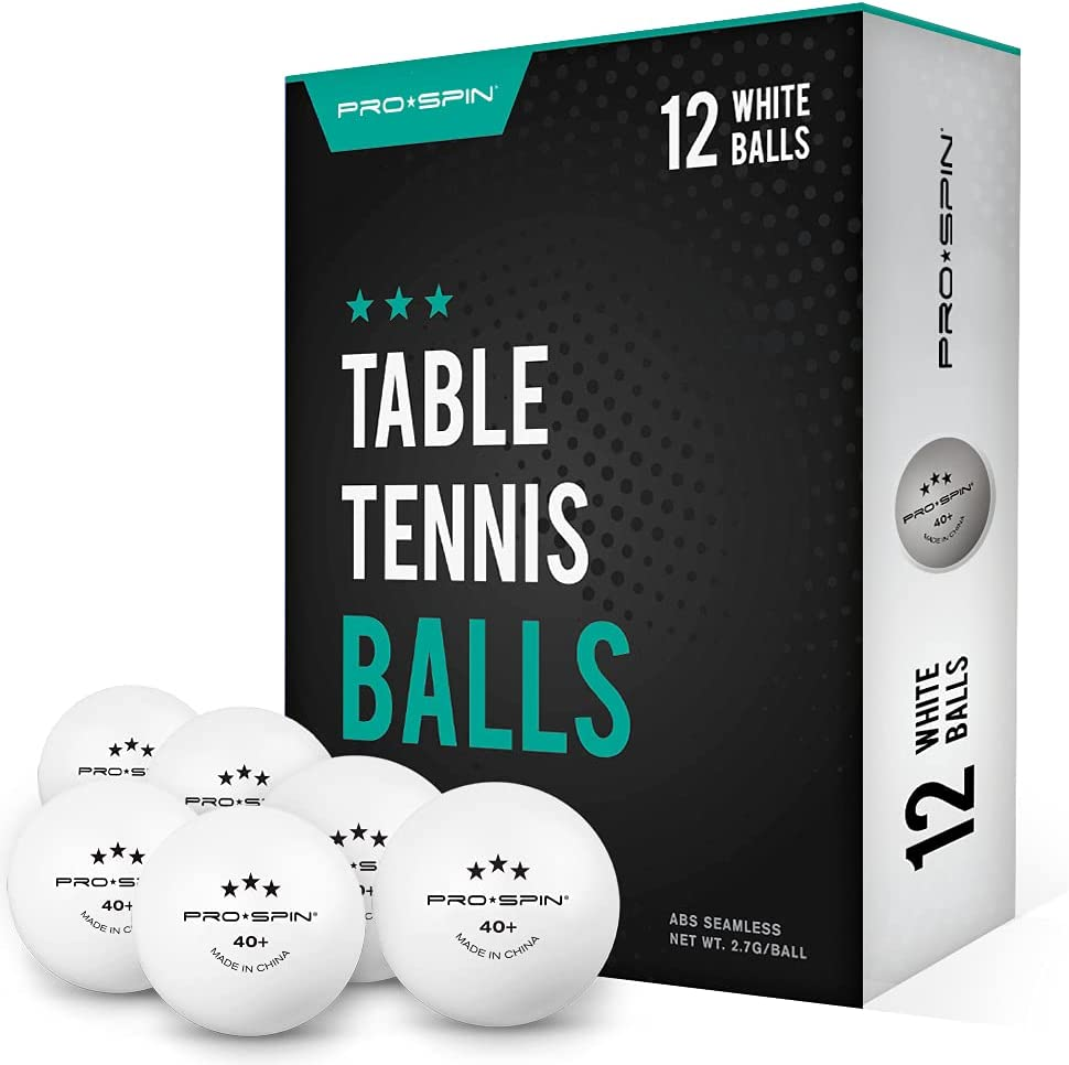 PRO SPIN Ping Pong Balls - White 3-Star 40+ Table Tennis Balls (Pack of 12 or 24)   High-Performance ABS Training Balls   Ultimate Durability for Indoor / Outdoor Ping Pong Tables, Competitions, Games
