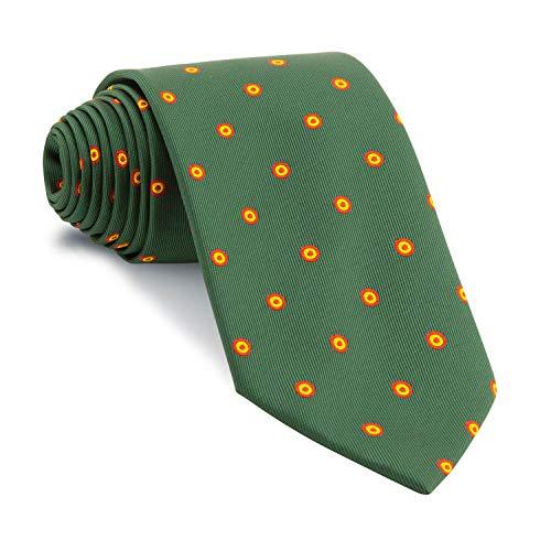 Cencibel Smart Casual Corbata Verde Botella Círculos Bandera España Escarapela