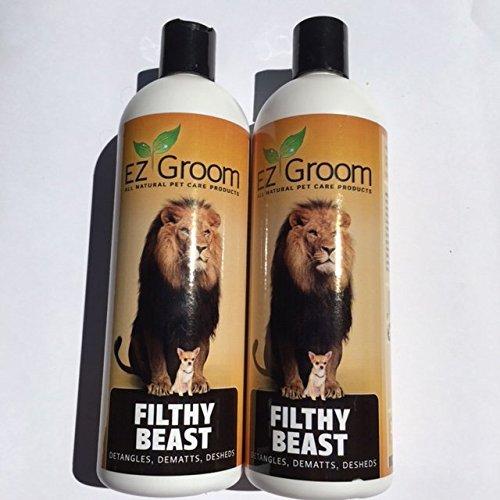 Filthy Beast Dog Shampoo -Twin Pack - EZ-Groom - Detangles, Demats, Desheds