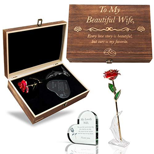 GreenCor Anniversary for Her   Wife   Women – Engraved Wooden Gift Set 'to My Beautiful Wife' Includes Crystal Engraved Heart   24K Gold Dipped Rose   Birthday   Valentines Day