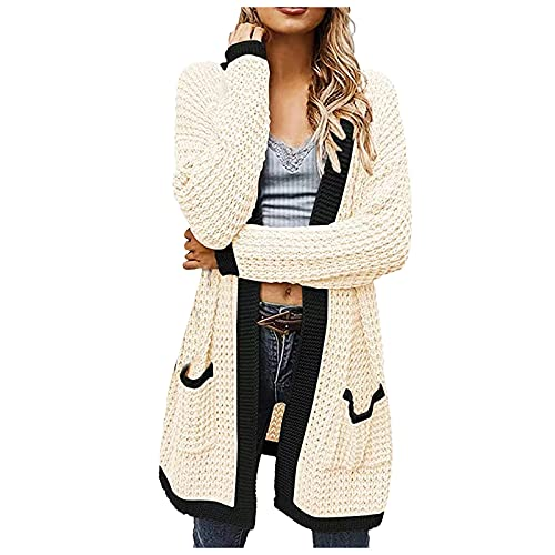Mujeres Waffle Knit Open Front Cardigan Solid Patchwork Jacket Loose Thin Sweater Long Coat con bolsillos, C Beige, L