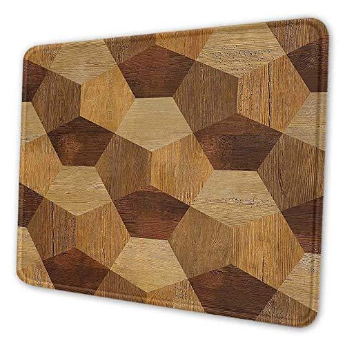 Retro Schreibtisch Pad Abstrakte Parkettboden Holz Rustikal mit geometrischen monochromen Muster Notebook Computer Mauspad Braun Hellbraun 8x10x0.08 Zoll