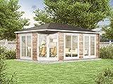 Alpholz 5-Eck Gartenhaus Julia-40 aus Massiv-Holz   Gerätehaus mit 40 mm Wandstärke   Garten Holzhaus inklusive Montagematerial   Geräteschuppen Größe: 588 x 400 cm