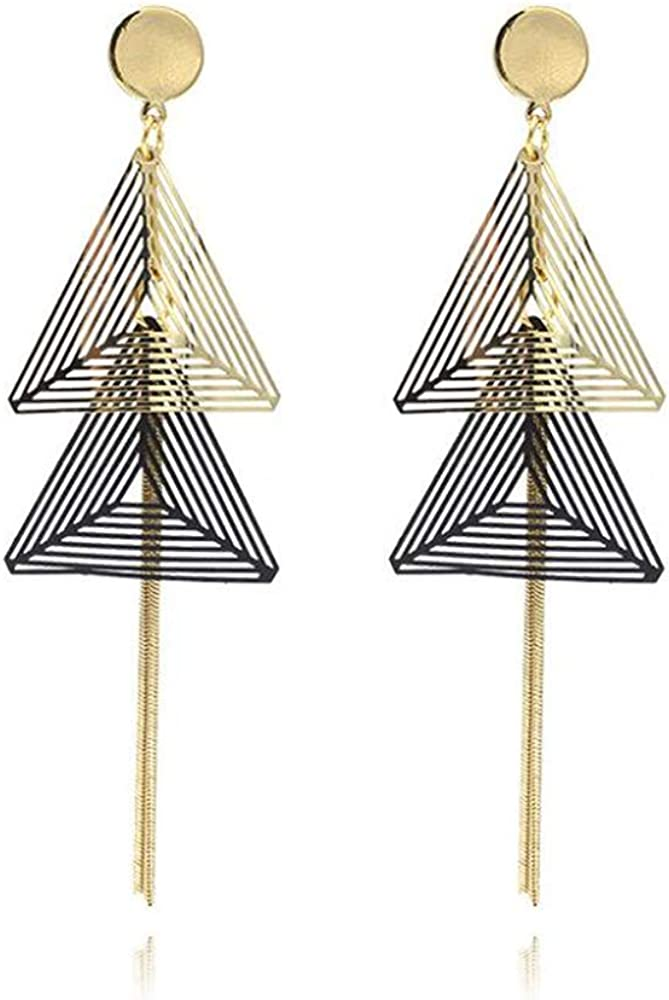 HAPPYAN Fashion Copper Material Triangle Geometric Clip on Earrings Without Pierced for Women Ear Clip