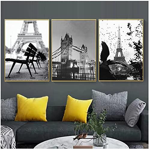 Carteles e impresiones de lienzo de pintura de pared de Torre del puente de Brooklyn blanco negro para decoración de habitación