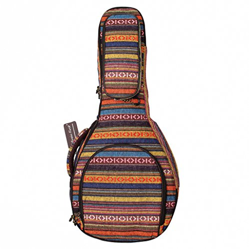 MUSIC FIRST Original Design 15mm Thick Padded Cotton Country Style A & F Style (Standard) Mandolin Gig Bag (Soft Case) Soft Mandolin Case Fits for Most of A Mandolin