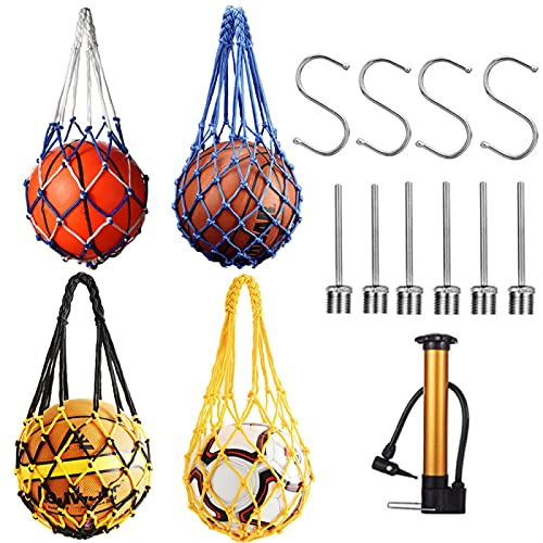 Set of 4 Nylon Mesh Ball Bag, Portable Football Basketball Volleyball Carry Net, Sports Gym Equipment Toy Storage Sack, Drawstring Hand-Woven Pocket, with Pump, 6pcs Inflator Needles, 4 S Shaped Hooks