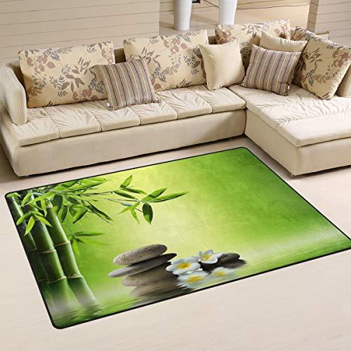 Use7 Alfombra antideslizante de bambú con diseño de piedra zen, para salón, dormitorio, 100 x 150 cm