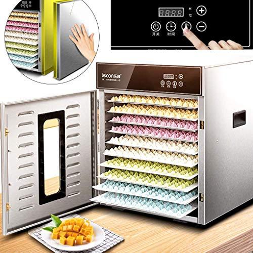 LXDDP Máquina deshidratadora Alimentos Secadora Frutas y verduras-10 bandejas Acero Inoxidable Doble Capa Anti-escaldadoCalentamiento Ciclo de360°con Temporizador Digital y Control Temperatura