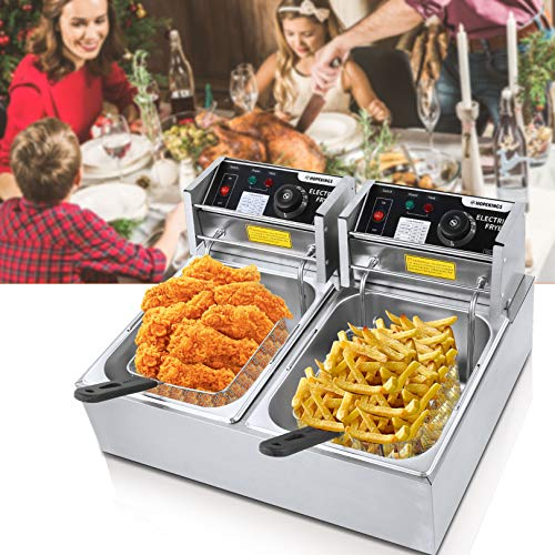 12 Liter Capacity 3600 Watt Electric Deep Fryer Stainless-Steel Countertop Turkey Chips Fryers With Removable Dual Tank & Baskets, Easy to Clean for Commercial or Home