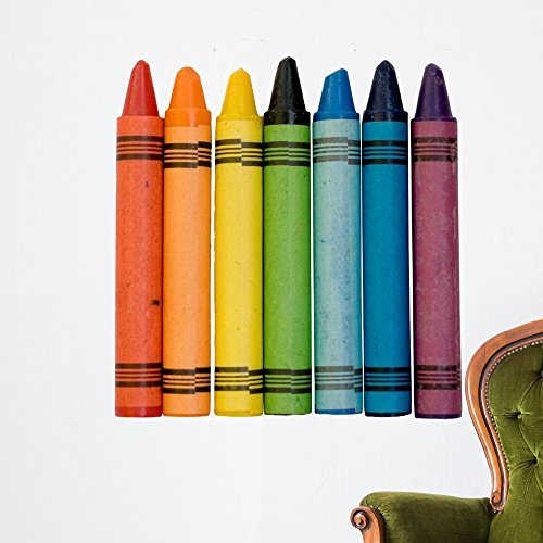 Wallmonkeys Rainbow Colored Crayons Wall Decal Peel and Stick Business Graphics (36 in W x 33 in H) WM418475