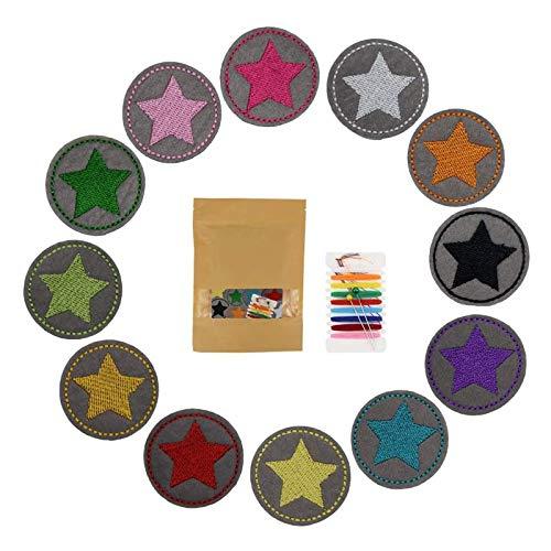 GloBal Mai Aufnäher Kinder Bügelflicken-Set - Garment Crafts DIY Dekorativer Patches Set,Schmetterlingen, Blumen, Rosen, Smileys, fünfzackigen Sternen, runden Schildern. (Color 2)