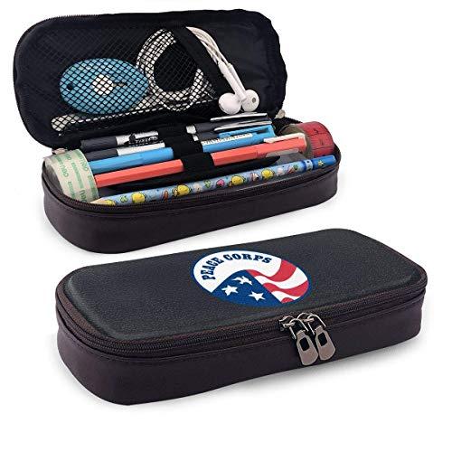 Peace Corps Leather Pencil Case Big Capacity Pencil Pen Case for School & Office